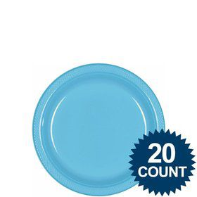 "Bright Blue 7"" Plastic Cake Plates (20 Pack)"