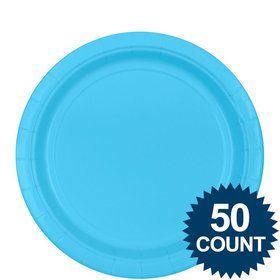 "Bright Blue 9"" Paper Luncheon Plates (50 Pack)"