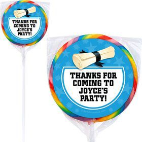 Bright Blue Grad Personalized Lollipops (12 Pack)