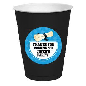 Bright Blue Grad Personalized Party Cups