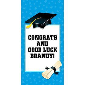 "Bright Blue Graduation Personalized Giant Banner 30X6"" (Each)"