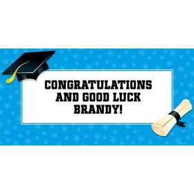"Bright Blue Graduation Personalized Giant Banner 60X3"" (Each)"