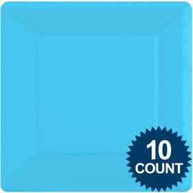 "Bright Blue Premium Plastic 10.75"" Square Dinner Plates 10ct"