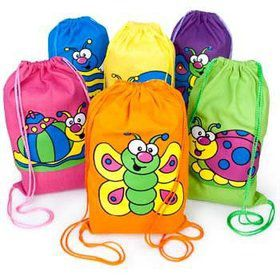 Bright Bug Drawstring Backpack (each)