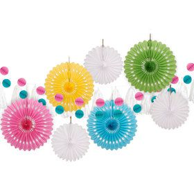 Bright Colors Paper Decoration Kit (10 Pieces)