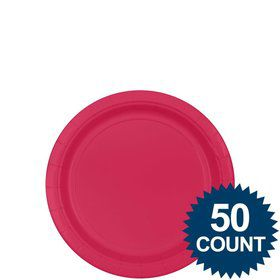"Bright Pink 7"" Cake Plates (50 Pack)"