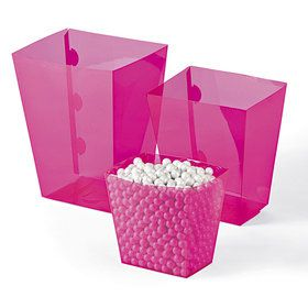 Bright Pink Candy Buffet Containers (6 Count)