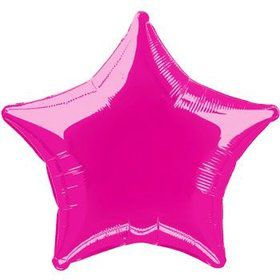 Bright Pink Mylar Star Balloon (each)