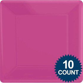 "Bright Pink Premium Plastic 10.75"" Square Dinner Plates 10ct"