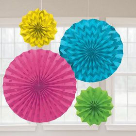 Bright Rainbow Glitter Paper Fan Decorations (4 Pack)