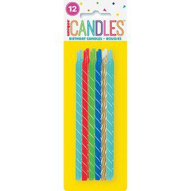 "Bright Spiral Birthday Candles 5"" - Assorted 12ct"
