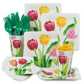 Bright Tulip Party Standard Tableware Kit Serves 8