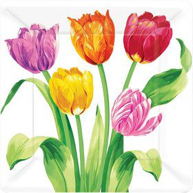 "Bright Tulips 10"" Luncheon Plates (8 Pack)"