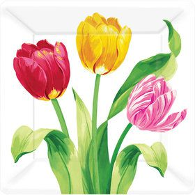 "Bright Tulips 7"" Cake Plates (8 Count)"