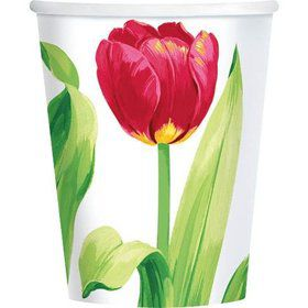 Bright Tulips 9oz Cups (8 Pack)