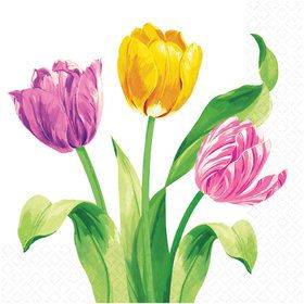 Bright Tulips Luncheon Napkins (16 Pack)