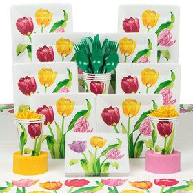 Bright Tulips Party Deluxe Tableware Kit Serves 8