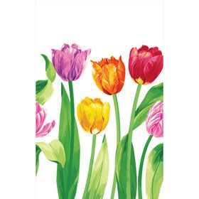 Bright Tulips Plastic Table Cover (Each)