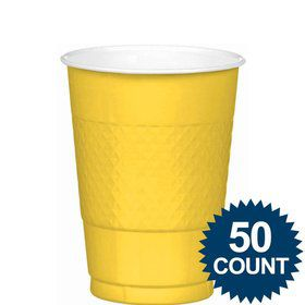 Bright Yellow 12oz. Plastic Cup (50 Pack)