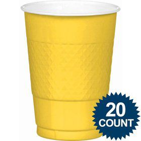 Bright Yellow 16oz. Plastic Cups (20 Pack)