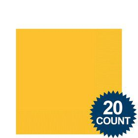 Bright Yellow 3-Ply Beverage Napkins, 20 ct.