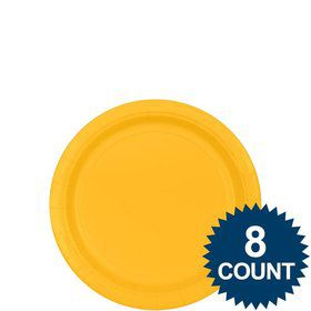 "Bright Yellow 7"" Paper Plate, 8ct."