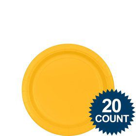 "Bright Yellow 7"" Paper Plates, 20 ct."