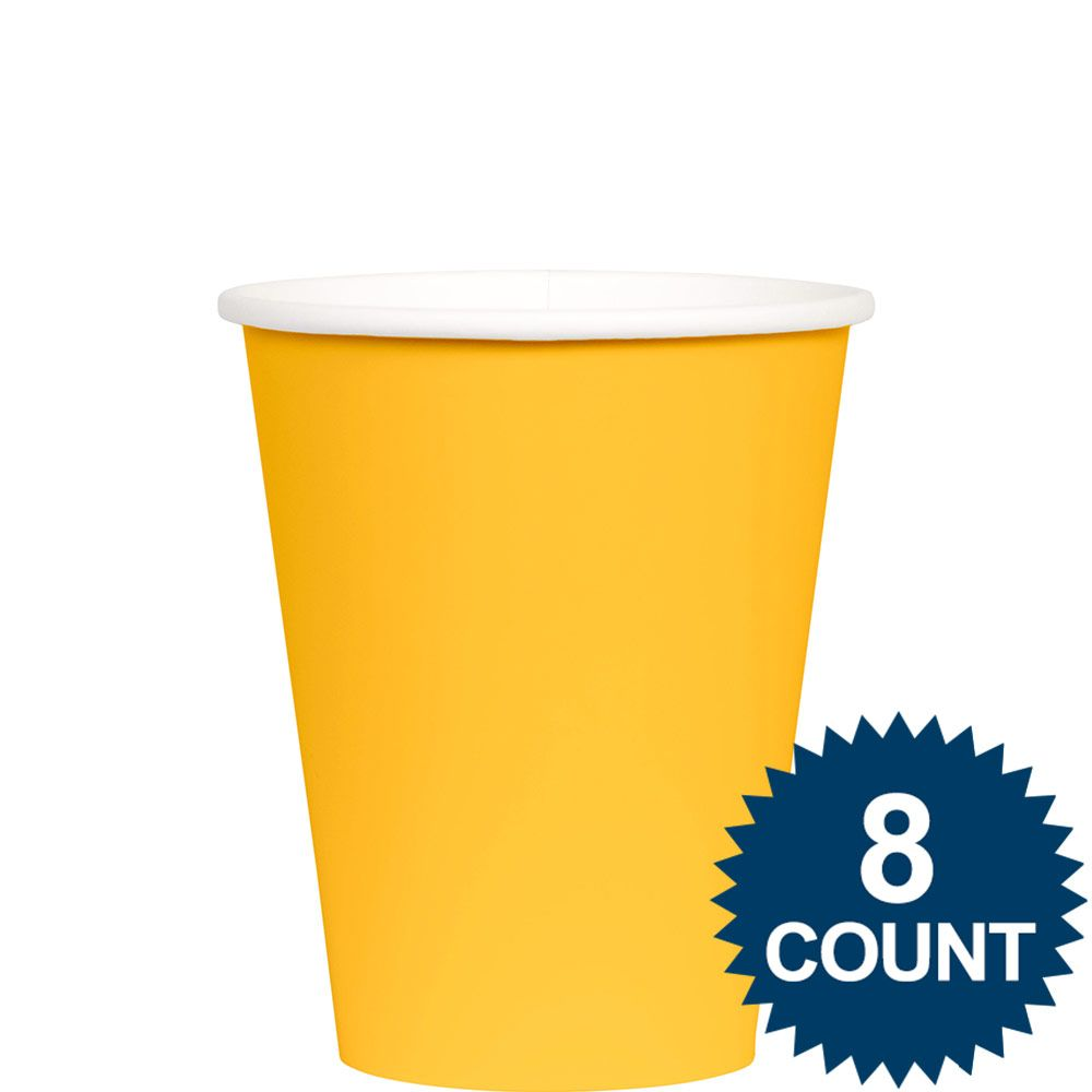 Bright Yellow 9 Oz. Paper Cup, 8Ct. BB100157