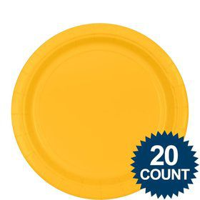 "Bright Yellow 9"" Paper Plates, 20ct."