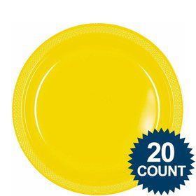 "Bright Yellow 9"" Plastic Luncheon Plates (20 Pack)"