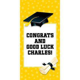 "Bright Yellow Graduation Personalized Giant Banner 30X6"" (Each)"