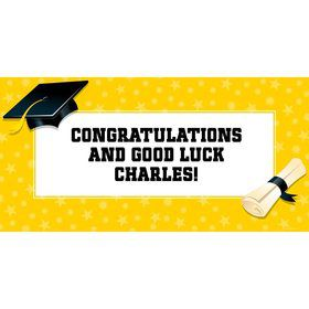 "Bright Yellow Graduation Personalized Giant Banner 60X3"" (Each)"