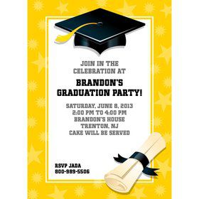Bright Yellow Graduation Personalized Invitation (Each)