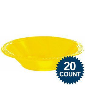Bright Yellow Plastic 12oz. Bowls (20 Pack)