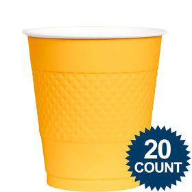 Bright Yellow Plastic 12oz. Cups (20 Pack)