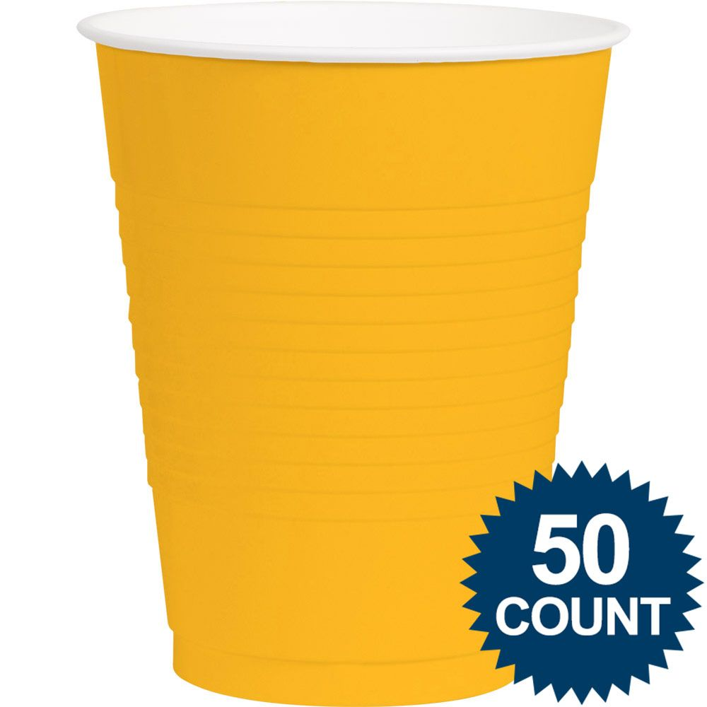 Bright Yellow Plastic 16oz. Cup (50 Pack) - Party Supplies BB43680109