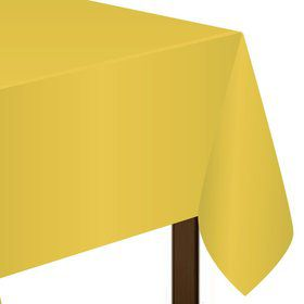 "Bright Yellow Plastic Tablecover, 54""-108"""