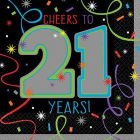 Brilliant 21st Birthday Beverage Napkins (16 Count)