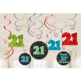 Brilliant 21st Birthday Swirl Decorations (12 Pieces)