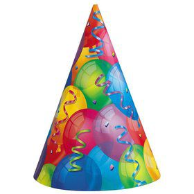 Brilliant Balloons Party Hats (8 Pack)