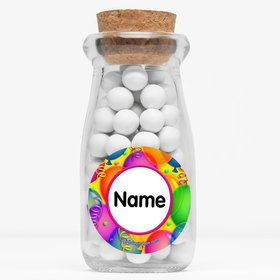 """Brilliant Balloons Personalized 4"""" Glass Milk Jars (Set of 12)"""
