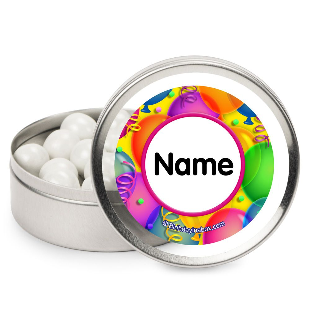 Brilliant Balloons Personalized Candy Tins (12 Pack) BB700179MT