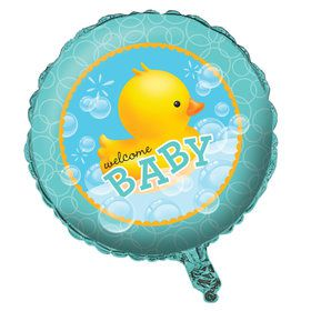 "Bubble Bath Welcome Baby 18"" Metallic Balloon (Each)"