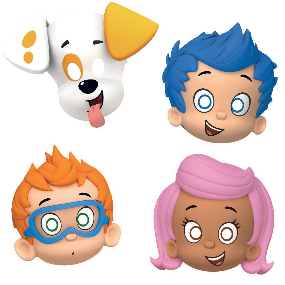 """Bubble Guppies 8"""" Paper Masks (8 Pack) - Party Supplies BB4988483"""
