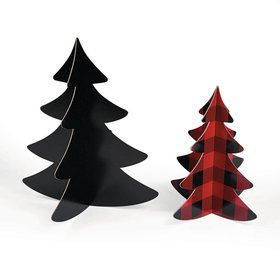 Buffalo Plaid 3D Tree Centerpieces (3)