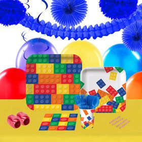Building Block Party 16 Guest Tableware Deco Kit
