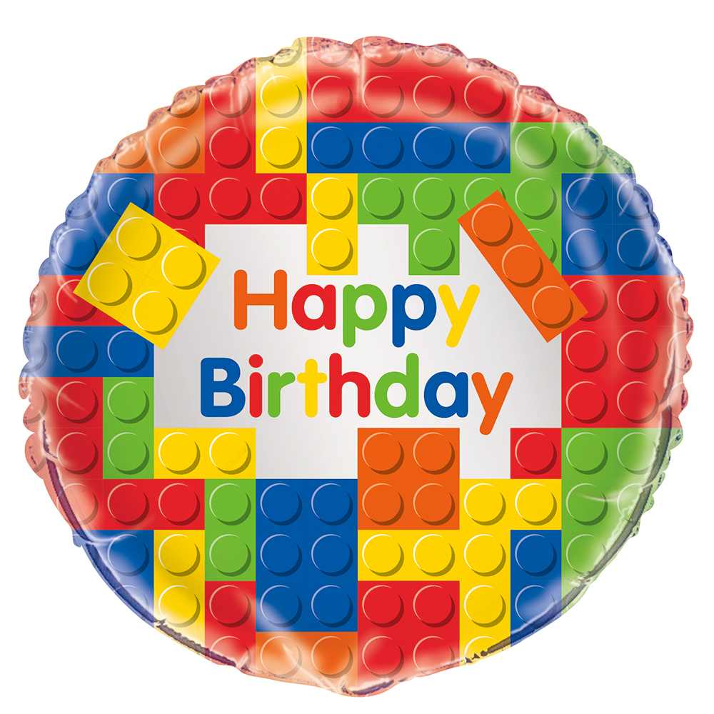 "Building Blocks Birthday 18"" Balloon (Each) BB58247"