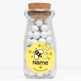 """Bumble Bee Personalized 4"""" Glass Milk Jars (Set of 12)"""
