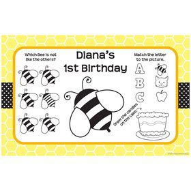Bumble Bee Personalized Activity Mats (8-Pack)