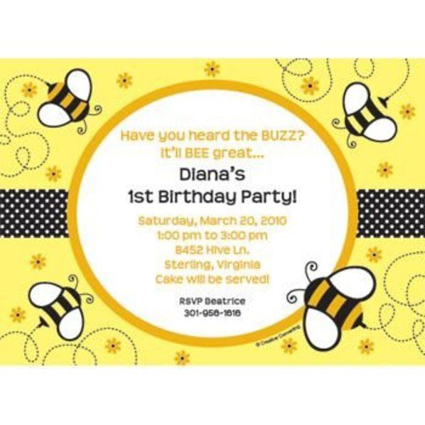 Bumble Bee Personalized Invitation Personalized Custom Invitations